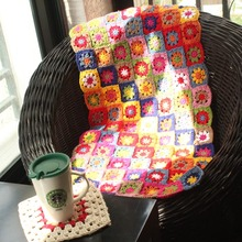 Hot Sale Colourful Daisy Handmade Original Hand Hooked Fashion Crochet Blanket Cushion Felt Pastoral Style Gift
