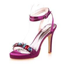 Mode frau schmalband knöchelriemen high heel sandalen bunte kristall sommer schuhe hochzeit prom ballkleid schuhe farben