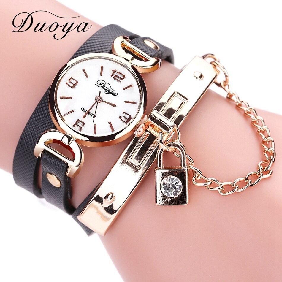 Duoya Watches Womens Dress Fashion Gold Luxury Ladies Bracelet Wristwatch Casual Leather Strip Sport Vintage Dress Watch Gift