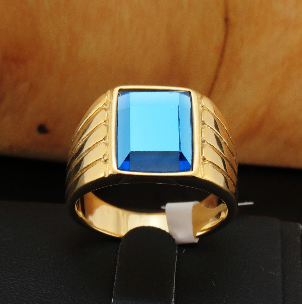 FIVETWOO FWR43 Stainless Steel Fashion Retro Unisex Ring Jewelry With Blue In Gold-Color Plated