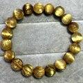 High Quality Natural Genuine Arrange Titanium Gold Hair Rutile Quartz Cat's Eye Stretch Bracelet Round Beads 9.8mm 04516