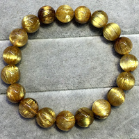 High Quality Natural Genuine Arrange Titanium Gold Hair Rutile Quartz Cat's Eye Stretch Bracelet Round Beads 9.8mm