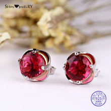 ShiPei 100% 925 sterling Silver Fine Jewelry White Gold Ruby Round Stud Earrings for Women Anniversary Gift
