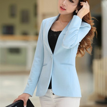 цена на 2019 Autumn Women Blazers And Jackets Candy Color Jacket Long Sleeve Slim Suit One Button Women Jacket Big Size Blazer