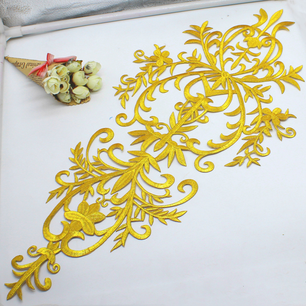 Iron On Gold Appliques Flower Cosplay Costume Fashion Patches Embroidered Garment Trims Gold And Silver 58cm*27cm