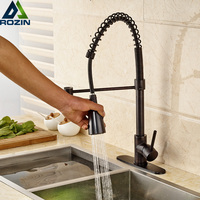 Luxury Single Lever Black Swivel Spout Kitchen Sink Mixers Deck Mounted Spring Pull Down Kitchen Faucet