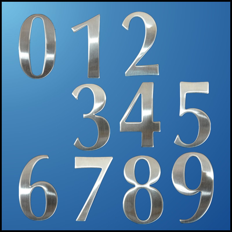 1Pc 0 9 Modern House Numbers 6.2*3.5*1.9cm Stainless Steel Number