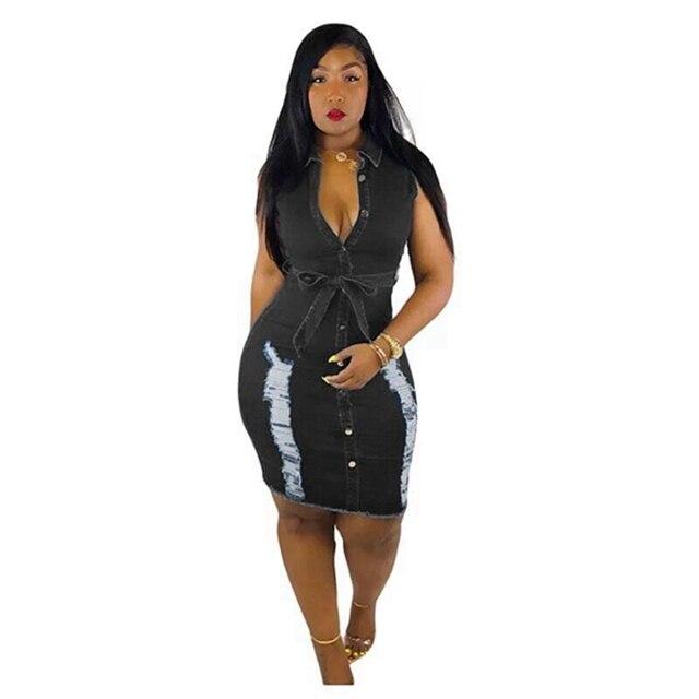 Sexy fashion sleeveless Bodycon Mini Dress Women Summer Vestidos 2019 Hole ripped jeans Dress Ladies vintage Washed Denim Dress 7