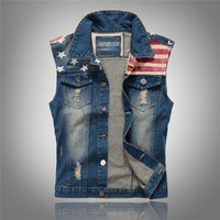 2016 New Hole Design Man Denim Vest America Flag Blue Vest Male Frayed Vintage USA Cowboy