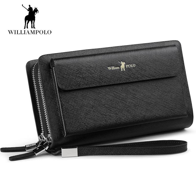 WilliamPOLO 2018 Genuine Cowhide Leather Male Wallet Men Zipper Magic Wallets Portomonee Anti-thief Compact Card Wallet POLO312