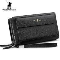 WilliamPOLO 2018 Genuine Cowhide Leather Male Wallet Men Zipper Magic Wallets Portomonee Anti thief Compact Card Wallet POLO312