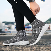 Medium Cut Women Shoes Men Gray Sock Sneakers for Men Lover's Trend Running Shoes Lightweight Soft Protect Ankle Autumn Footwear