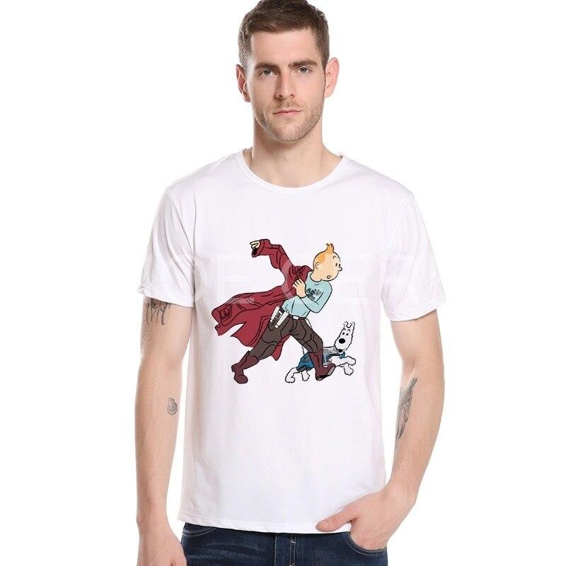 Тинтин Приключения классический анимация мультфильм футболка Для мужчин рукав реглан футболка с принтом Лидирующий бренд 3D футболка M24-5 #