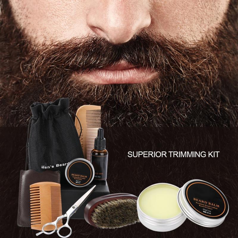 Men's Beard Styling Shaping Mustache Hair Care Tool Beard Styling Beard Comb Balm Oil Grooming Set Mustache Hair Care Tool Kits 5