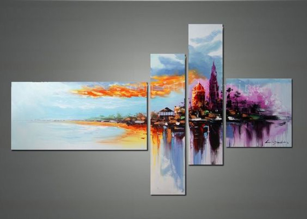 Handmade Modern Seascape Wall Art Abstract Artwork And Cityscape Oil  Paintings On Canvas Calligraphy City Sunset Landscape Paint In Painting U0026  Calligraphy ...