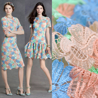 120CM Wide 400G M Blue Green Orange Flower Embroidery Polyester Net Lace Fabric For Wedding Dress