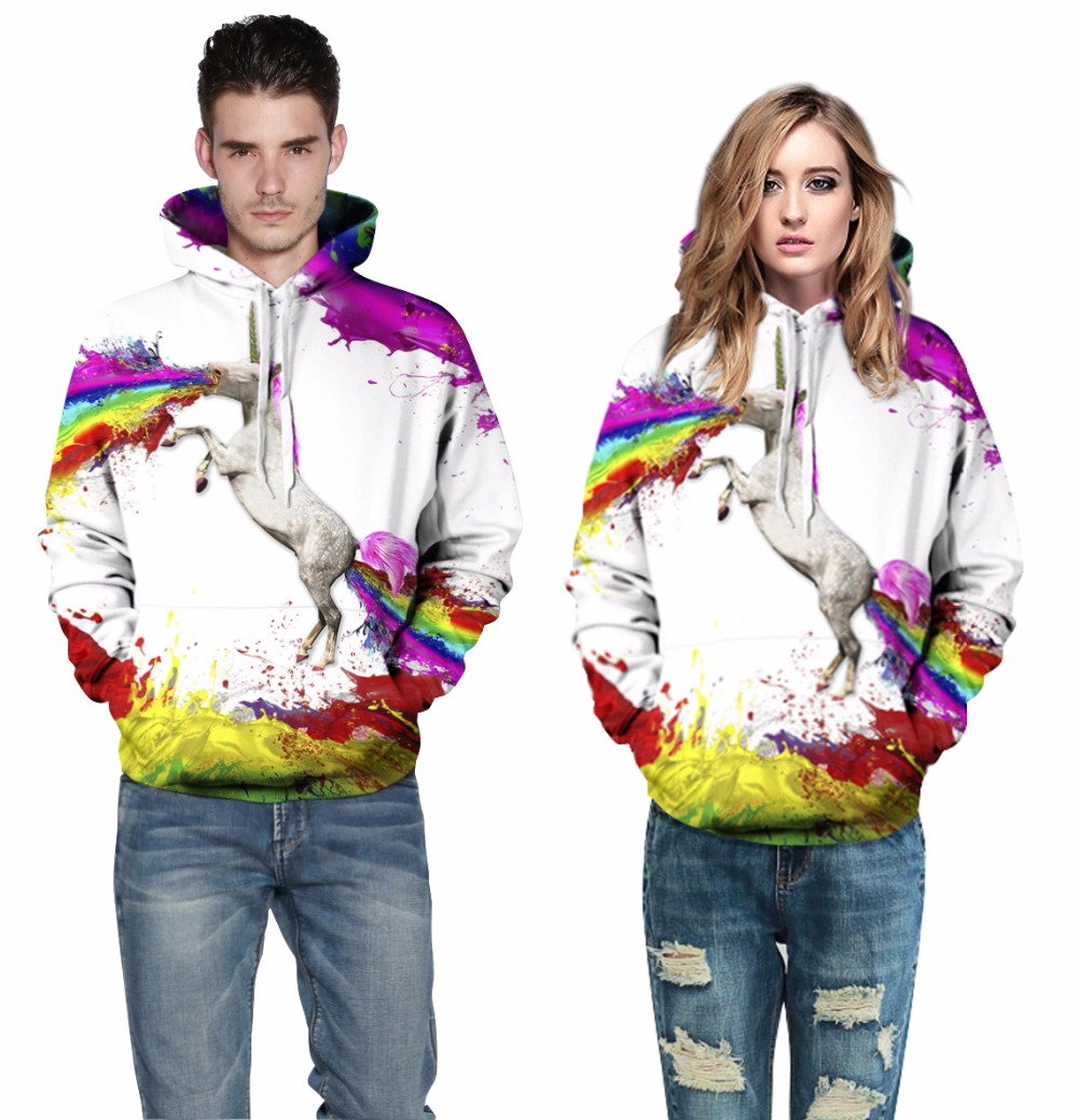 2018 New Fashion Hooded Men Women Hoodies 3D Horse Print Harajuku Couple Sweatshirt Casual Tracksuits For Valentines Day Gift