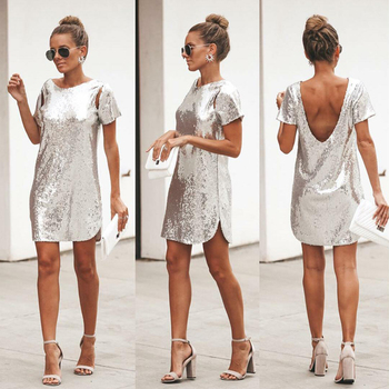 Autumn Silver Sequined Backless Sexy Dress Women Short Sleeve Mini Dress Short Christmas Party Club Dresses Vestidos