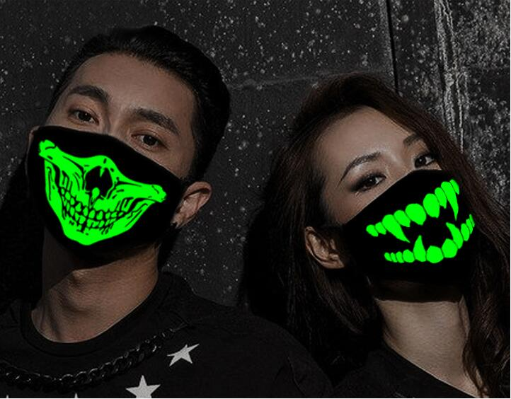 Woman Men Glow In Dark Skull Scarey Masks Black Mask Mouth Half Face Masquerade Cosplay Costume Mask DIY Party Decorations