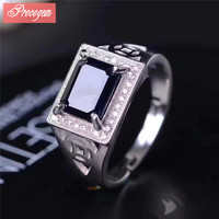 Natural Sapphire Ring Rectangle ring Genuine Gemstone men Ring 925 Sterling silver Wedding Ring fine Jewelry Free Shipping #082