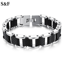 Stainless Steel Square Biker Mens Bracelet Motorcycle Link Chain Genuine Sillcone Bangle Casual Style Double Safety Claspes 2017