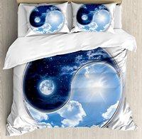 Ap Книги по искусству ment Декор постельное белье, инь Ян мира с Луна и солнце Harmony Вселенной Книги по искусству, 4 шт. Постельное белье