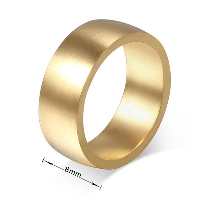 8mm Wide Fashion Wedding Rings For Men Women Simple Thick Gold Color Stainless Steel