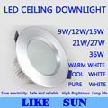 FREE SHIPPING High power Led ceiling lamp 9W 12W 15W 21W 27W 36W 85-265V led Recessed Downlight with led drive