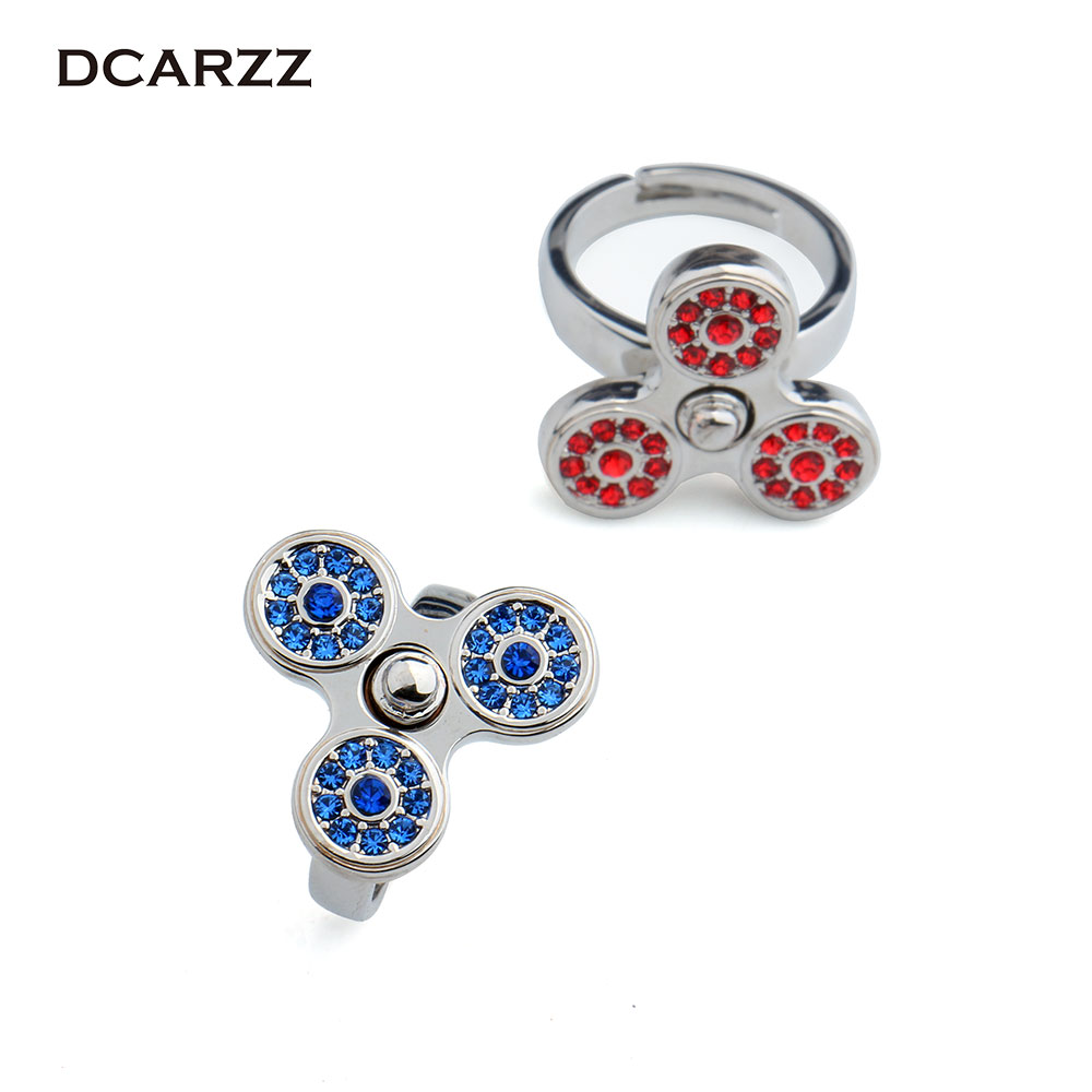 Kristalle Finger Spinner Ring Zappeln Spinner Einstellbar Ring ...