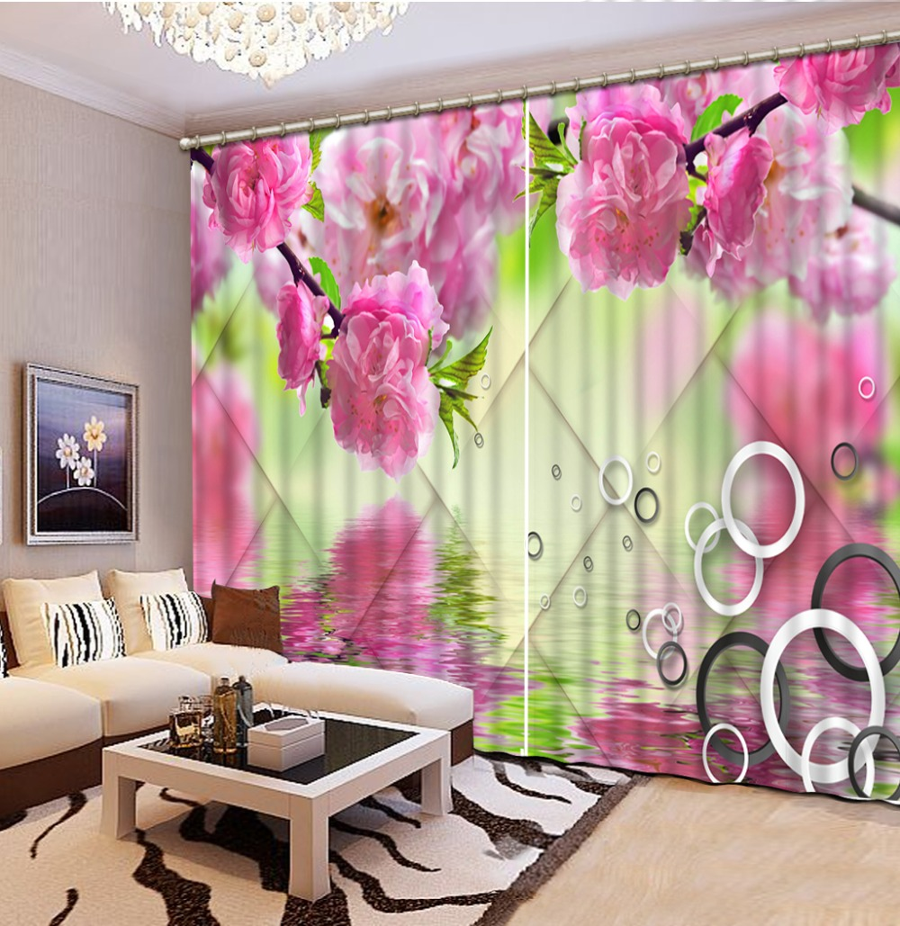 Luxury Blackout 3D Window Curtains For Living Room Bedroom Customized size pink flower curtains Luxury Blackout 3D Window Curtains For Living Room Bedroom Customized size pink flower curtains