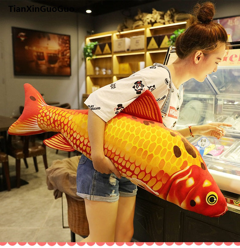 large 90cm golden red carp fish plush toy zipper closure washable fish soft doll throw pillow