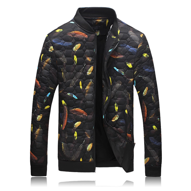2016 new style men s fashion leisure printed cotton quilted jacket winter The man s feather