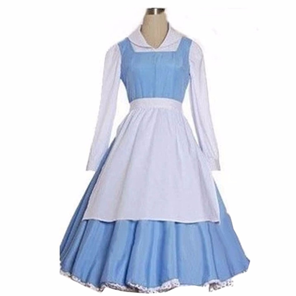 2018 Beauty And The Beast Belle Cosplay Costume Blue Apron Suit Halloween Costumes For A ...