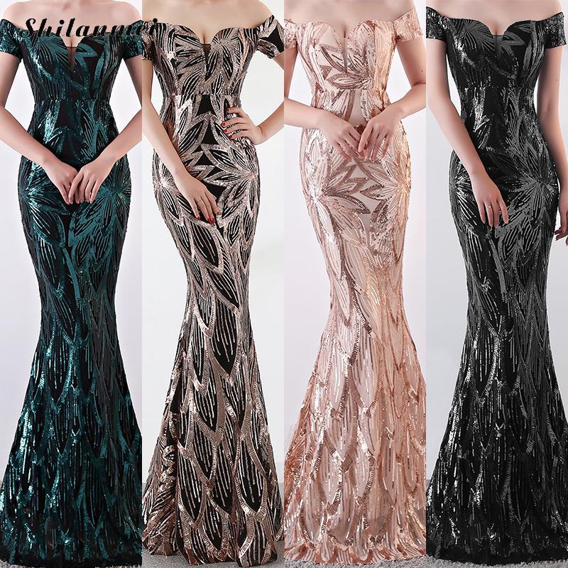 Off Épaule D'été Longue Soirée tenue de fête Femmes Célèbre Marque Élégant Sequin robe de soirée Femelle Or de La Femme Sexy Robes Longues