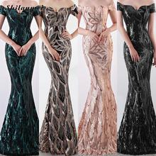 Off Shoulder Summer Long Evening Party Dress Women Famous Brand Elegant Sequin Night Female Womans Gold Sexy Dresses