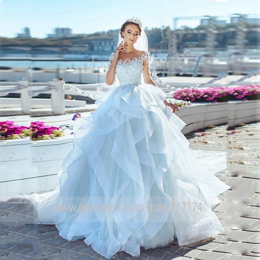 Sheer Scoop Neckline Half Sleeves Appliques Wedding Dresses With See Through Back Layer A-line Vestios De Novia