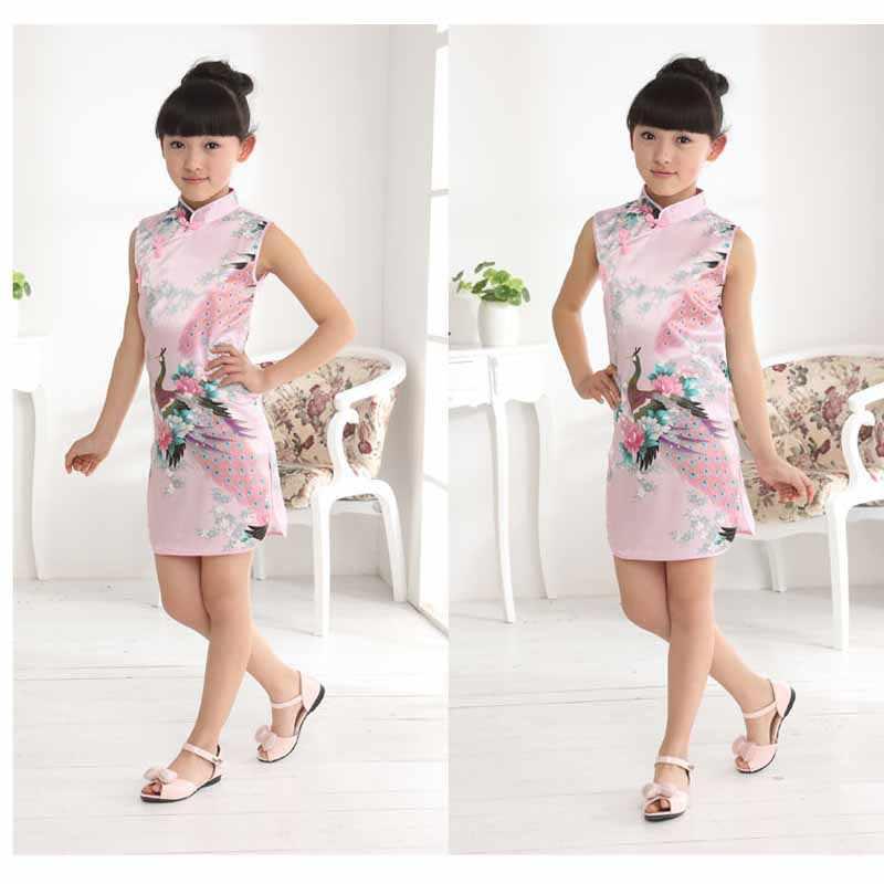 7bdd4e9b9db5 ... Kid Little Girls Vintage Floral Dress Summer Chinese Traditional  national Costume Sleeveless Cheongsam Children's Clothing Rose