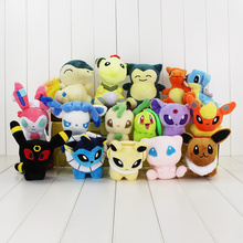 16Pcs Lot Anime Snorlax Cyndaquil Ampharos Charizard Lapras Sylveon Eevee Chikorita Plush Dolls Toys Stuffed Soft