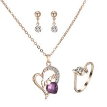 Fashion Gold Jewelry Engrave Love Heart necklace purple crystal Necklaces Jewelry Set For women wedding Party Engagement Jewelry(China)