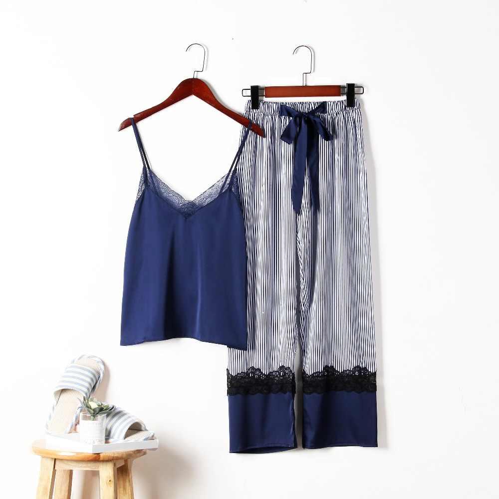 ... Sleepwear Female Sexy Lace Elegant Satin Pajamas 2019 Spring Autumn Women  Silk Pijama Sets High Quality ... 246d1ff4f