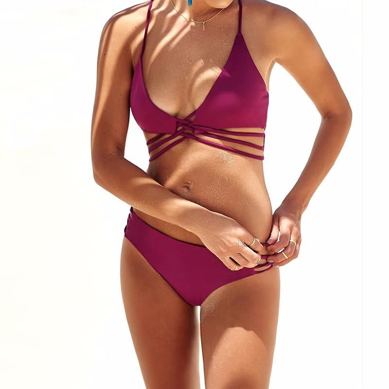 Bikini 2018 Sexy Swimwear Women Swimsuit Bikini Set Cross Bandage Beach Bathing Suit Low Waist Swimsuit Push Up Brazilian Suit 2