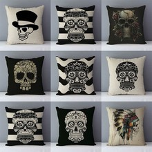 Seat Cushions Pillowcase Skull-Printed Home-Decorative Linen Square Size-45x45cm Cotton
