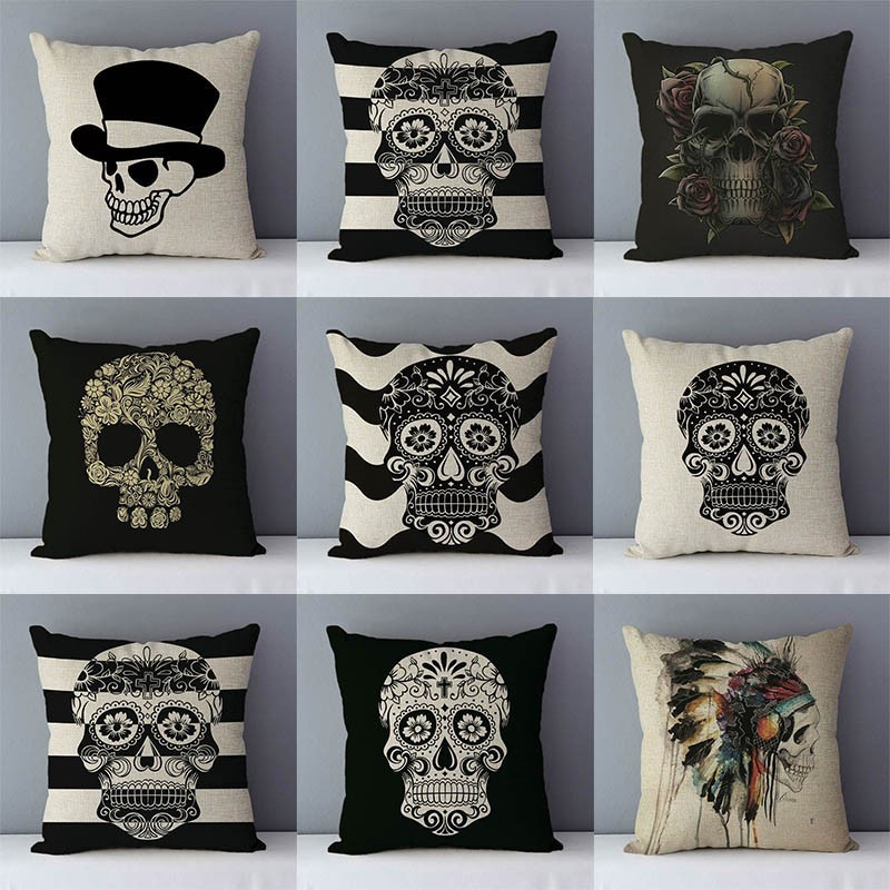 Post-modern style couch cushion Skull printed home decorative pillows square size 45x45cm seat cushions pillowcase without core