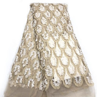HFX Nigerian Lace Fabrics Latest 2019 Embroidered 3d Flowers African Wedding Party Tulle Lace Gold/White Net French Lace X1616