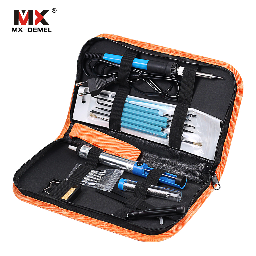 MX-DEMEL 220V 60W Adjustable Temperature Electric Soldering Iron Kit+5pcs Tips Portable Welding Repair Tool Tweezers Solder Wire 60w 220v electric adjustable temperature welding solder 5pcs iron tips led helping hand stand clip magnifier