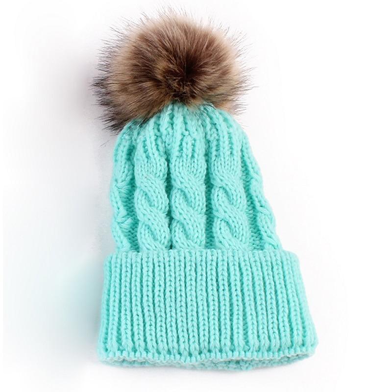 4a247224a2b 1 pcs Cute Boys Girls Winter Warm Hat Fur Ball Pom Pom Cap Kids Winter  Knitted Wool Hats Caps for Boys Beanies nouveau ne-in Skullies   Beanies  from Men s ...