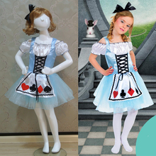 2018 New Alice in Wonderland Dress Stage Wear Clothing Kids Party Fancy Ball Clothes Girl  Alice cosplay Costume