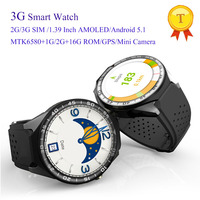 3G Android Smart Watch Phone With Wifi GPS Sim 2GB Ram 16GB ROM Wristwatch MTK6580 5.0MP Camera 1.39 Pedometer Heart Rate