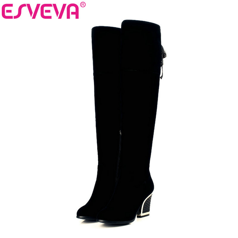 ESVEVA 2017 Women Boots Sexy Warm Zipper Fashion Winter Shoes Square High Heel Round Toe Flock Over The Knee Boots Size 34-40 wastyx new winter over the knee boots sexy super high women boots thin heel shoes woman fashion round toe sapato feminino 34 48