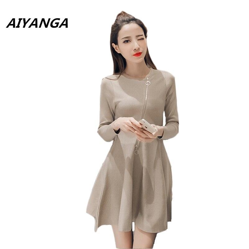 Autumn Winter new fashion brief women long sleeve Elasticity knitting dresses high waist slim solid khaki black Sweater dress
